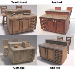 Kitchen Islands in Dollhouse Miniature